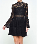 John Zack Black Dress With Tiered  Lace Inserts Size 8-14