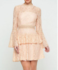 John Zack  Lace Tiered Mini  Dress in Nude Pink Prom Party Wedding