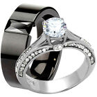 His Hers Round CZ Engagement Wedding Promise Ring Set Stainless Steel Black Band