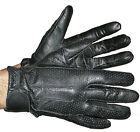 Mens Driving Perforated Gel palm butter soft leather gloves hook & loop closure