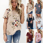 UK Summer Womens Casual Tops Blouse Short Sleeve Crew Neck Floral T-Shirt...