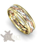 6mm 9ct Real Multi-Tone GOLD His/Her 3 Colour Eternity Celtic Wedding Band Ring