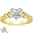 9ct Yellow Gold 2.0ct Heart Created Diamond Celtic Knots Trinity Engagement Ring