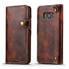 Genuine Leather Belt Flip Wallet Case Slim Cover For Samsung Galaxy S8 / S8 Plus