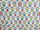 REMNANT OffCut Fabric SEASIDE BEACH HUT SAND Bunting Patchwork Polycotton