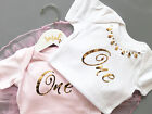 First Birthday Party Baby One Piece Bodysuit Pink or White Gold Metallic
