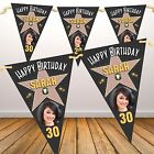 Personalised Hollywood Star Happy Birthday PHOTO Flag Banner Bunting N85 Any Age