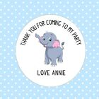 30 Custom Cute Elephant Thank You For Coming To My Party Round Birthday Stickers