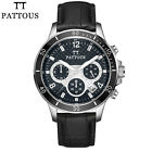 PATTOUS Genuine Leather Dress Sports Chronograph Watches Wrist Watch Gift Box