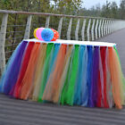 Rainbow Tulle TUTU Table Skirt Cover Birthday Wedding Baby Shower Party Decor