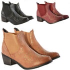 Womens Chelsea Cowboy Booties Low Heels Shoes Dress Medium Ankle Boots Size