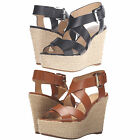 Michael Kors Womens Celia Mid Wedge Peep Toe Buckle Ankle Strap Platforms Heels