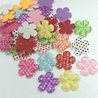 20 Padded Dotted Satin Flower Appliques 25mm a132 U pick