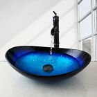 US Black Blue Tempered Glass Vessel Sink Basin Faucet Bathroom Bowl Set