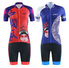 Women Cycling Bicycle Short Sleeve Chinese Style Sport Suit Set Jersey Shorts