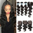 Peruvian Human Hair Body Wave 4*4 Lace Closure with 3Bundles Weaves Extension