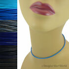 2 mm Blue Leather Cord Necklace or Choker Custom Length pick colors Handmade USA