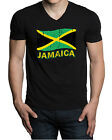 New Distressed Jamaica Flag Men's Black V-Neck T Shirt Rasta Reggae kush weed