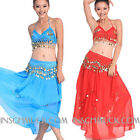 C811 Belly Dancing Costume 3 Parts Upper Top + Skirt + Belt Belly Dancing