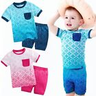 "Vaenait Baby Kid Girls Boys Clothes Short Outfit set ""Bohemian Blue Pink"" 12M-7T"