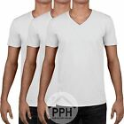 3 Pack Gildan Soft WHITE Mens V Neck T Shirt Plain Wholesale Work wear Tshirt