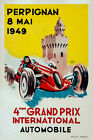 Vintage French Motor Racing Poster 1940s Perpignan Grand Prix Castle Car Print