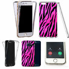 Shockproof 360° Silicone Clear case cover for many mobiles - pink zebra pattern