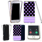 Shockproof 360° Silicone Clear case cover for many mobiles- purple polka stripe