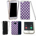 Shockproof 360° Silicone Clear case cover for many mobiles- purple spots motif