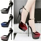 Womens Patent Leather Platform Pointed Toe High Heels Pumps Stiletto Party Shoes