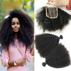 "100% Virgin Human Hair,Mongolian Afro Kinky Curly Hair With 4x4"" Lace Closure"