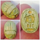 RARE EGYPTIAN CARVED GLAZED SCARAB BEAD SEAL WITH SCARAB 300 B.C.