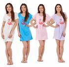 New Ladies Nightwear V Neck Flamingo Printed Short Sleeve Girls Nightie T Shirt