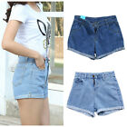 Girls Women Mini Denim Short Pant Skinny Jean Shorts Back Frayed Estival Pocket