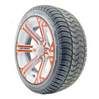 """14"""" RHOX SS White Orange Wheel and Low Profile Golf Cart Tire Combo Options"""