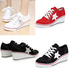 Womens canvas shoes Lace up casual wedge heel trainer Classic Sneakers Athletic