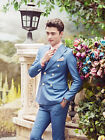 Stock Blue Men's Wedding Suits Groom Tuxedos Formal Business Suits Jacket+Pants