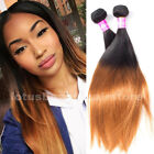 Two Tone Brazilian Hair Ombre Weft #1b#30#27 50g/Bundle Straight Human Hair Weft