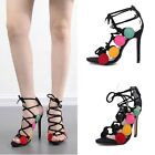 Womens Lace Up Open Toe Stiletto Multi-Colored Party High Heels Clubwear Sandals
