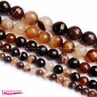 """6-14mm Faceted Round Natural Banded Coffee Agate Gem Loose Beads Strand 15"""""""