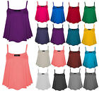 New Womens Ladies Plain Swing Flared Vest Strappy Cami Top Plus Size UK 8-26