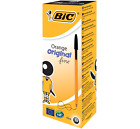 New Original Bic Orange BLACK Fine Biro Pen 0.8mm *CHOOSE FROM MENU, FREE P&P*