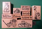 CUTE TEDDY BEAR ASSORTMENT -  Your Choice -  Wood Mounted Rubber Stamp