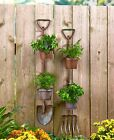 Rustic Metal Shovel Pitchfork Garden Tool Hanging Planters 2 Flower Pots Fence cheap