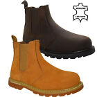 NEW MENS LEATHER SLIP ON SAFETY BOOT STEEL TOE CAP ANKLE HIGH WORK SHOES SZ 5-13