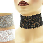 "Stretch Lace Choker extra wide 2 - 2.25 inches custom necklace elastic 2"" Black+"