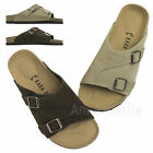 AnnaKastle Womens Mens Unisex Genuine Suede Leather Slide Sandal Couple Shoes