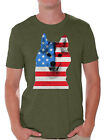 USA Flag American Husky Men's T shirt Tops Independence Day