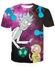 New Mens Womens Psychedelic Galaxy Rick and Morty Funny 3D Print T-Shirt
