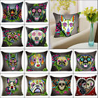 """18""""Day of The Dead Dog Polyester Cushion Cover Sofa Throw Pillow Case Home Decor"""